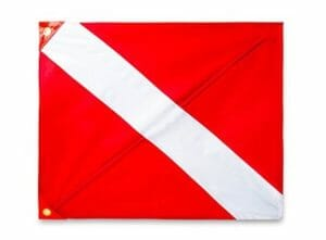 red and white diver down flag