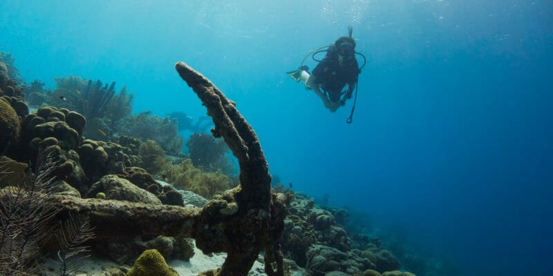 scuba river near reef with old anchor in foreground