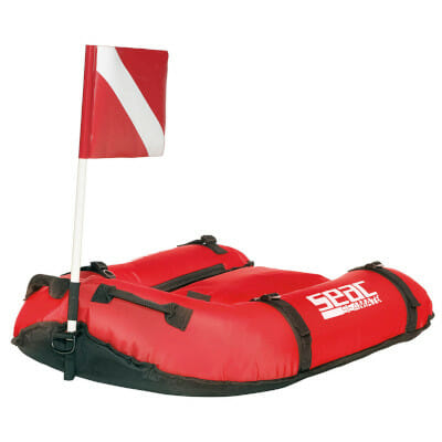 bright red gangway boat with diver flag seac seamate