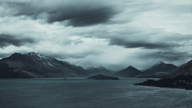 stormy weather cold front mountains and sea