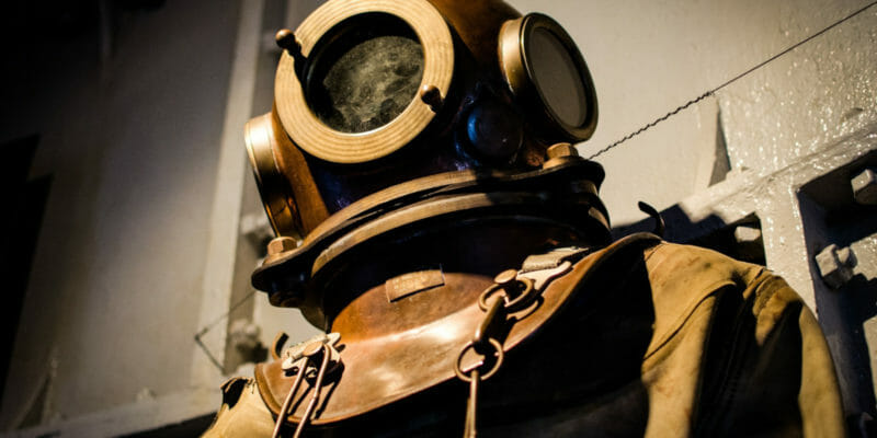 old style diving suit and helmet diving movies