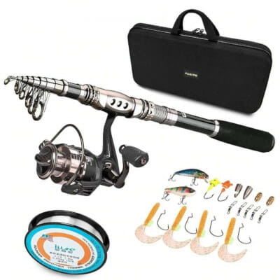 fishing kit with telescoping rod and reel
