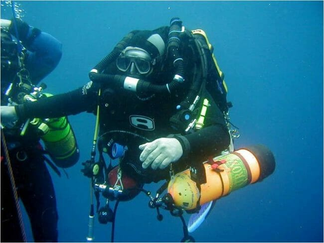 technical scuba diver with rebreather
