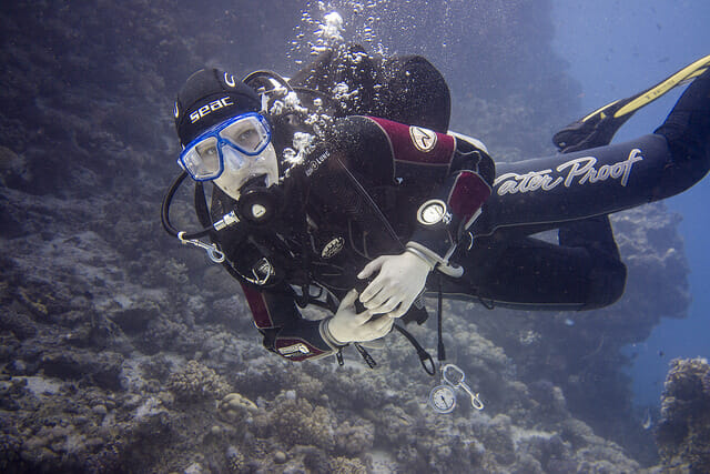 scuba diver underwater in clear water