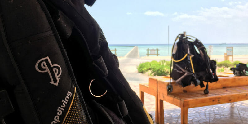 two dive bags near beach Egypt