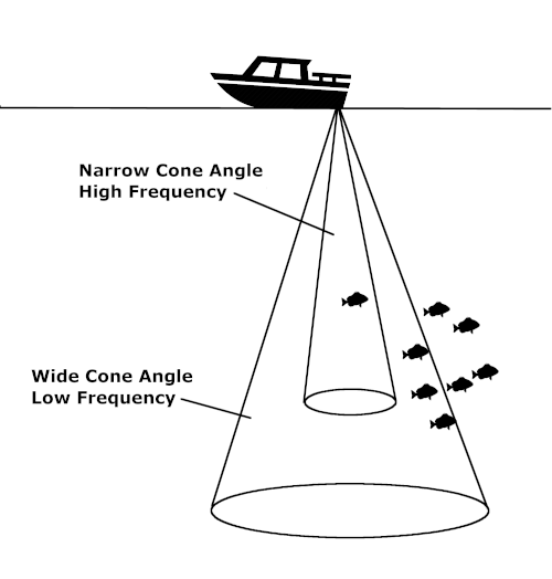 diagram of fish finder sonar cone angles