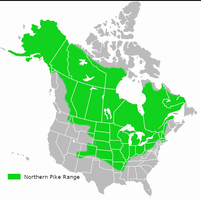 Northern pike range map north america