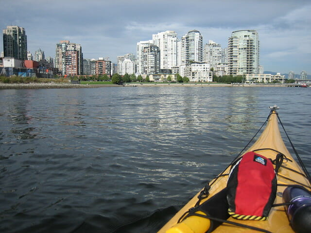 yellow kayak with dry bag vancouver
