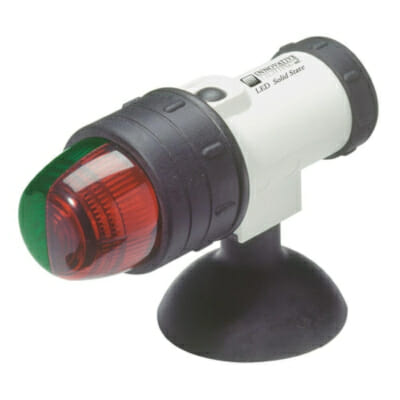 red and green navigation suction cup mounted light for kayaks