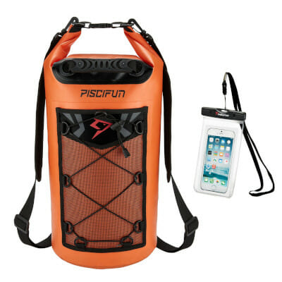 piscifun dry bag bright orange with small waterproof cellphone pouch