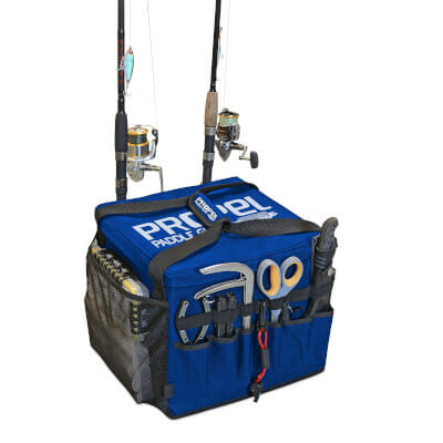 blue kayak bag with accessories and rods mounted to the exterior