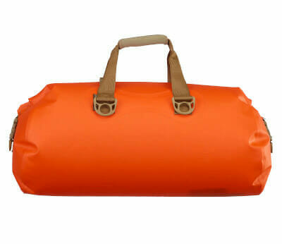 bright orange waterproof dry bag for kayaking