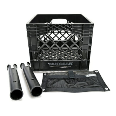 yakgear kayak milk crate starter set with two rod holders and accessory pouch