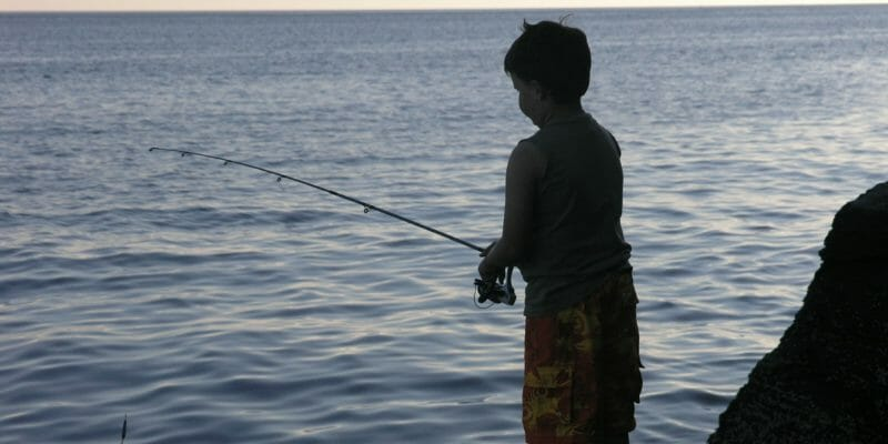 silhouette of boy fishing from shoreline