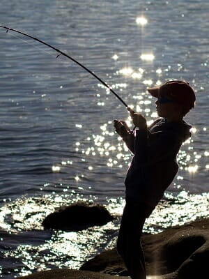 boy with fishing rod catching fish from shore