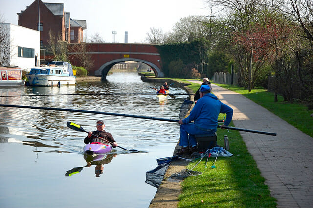 canal cane pole fishing in Leeds, England