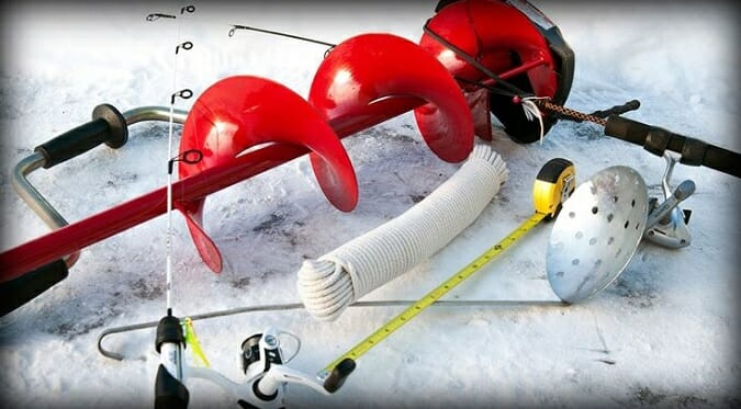 ice fishing safety gear auger throw rope measuring tape and auger