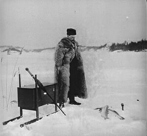 historical photo of ice fisherman in 19th century sweden