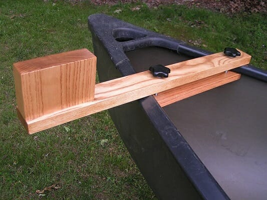 harwood ash trolling motor mount on canoe