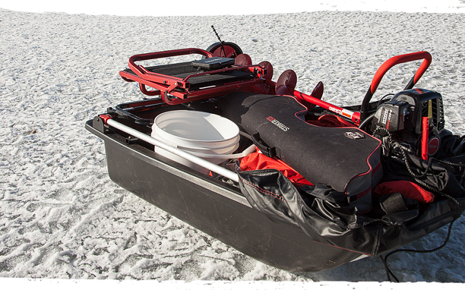 ice fishing sled with gear inside