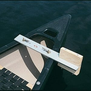 old town canoe trolling motor mount attached to canoe