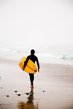 surfer wearing wetsuit on beach