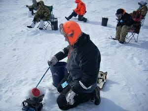 man ice fishing with flasher and underwater camera