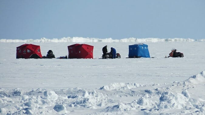 ice fishing lake winnipeg ice shelters on the ice
