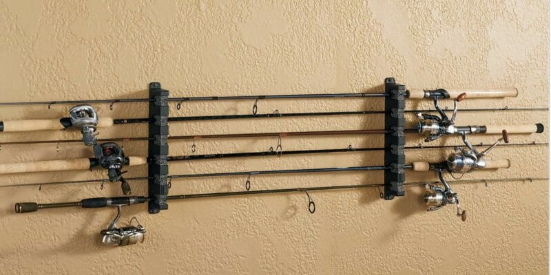 fishing rod rack on wall horizontal