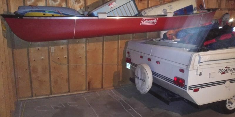 canoe hoist in garage