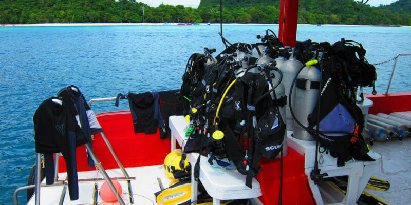 scuba diving equipment on boat