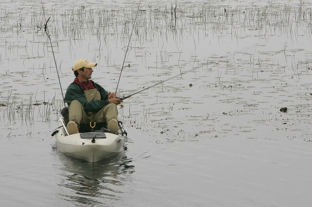 kayak fisherman fishing the flats