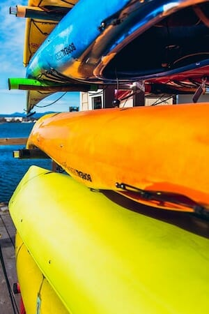 kayaks on a storage rack