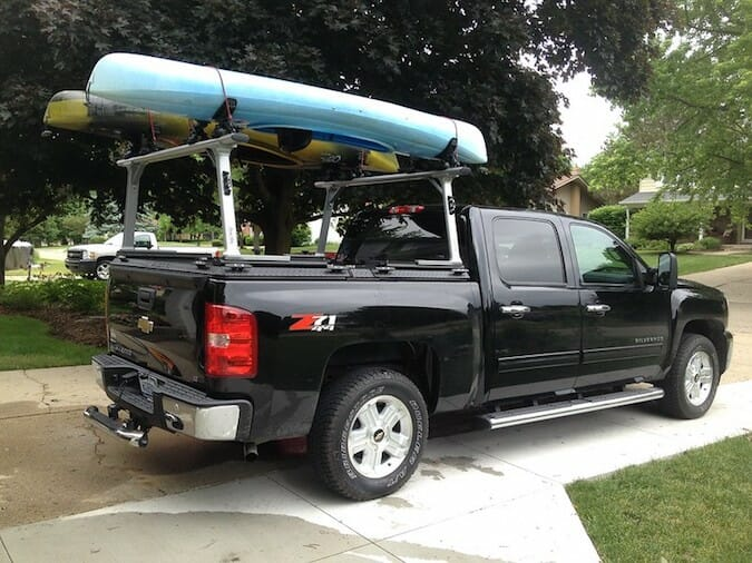 two kayaks on pickup truck roof rack