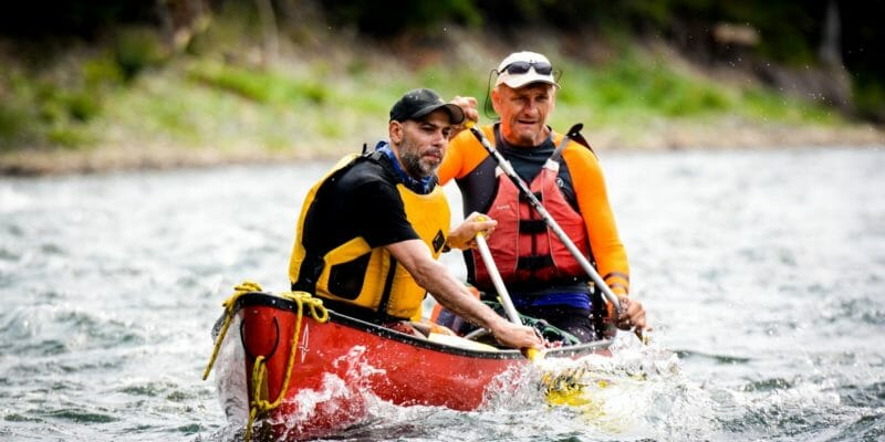 canoe paddles in use whitewater