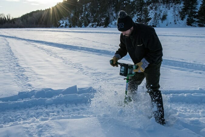 electric ice auger drilling