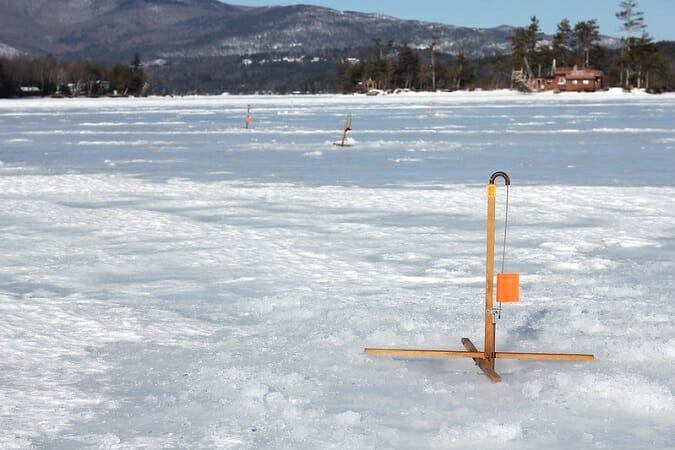 tip up flags on the ice