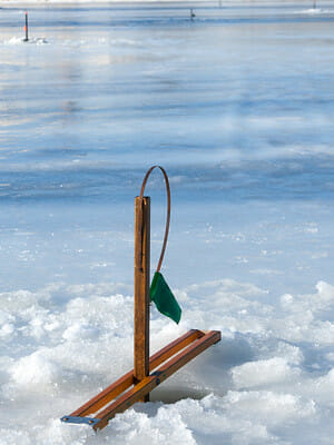 multiple tip ups on the ice